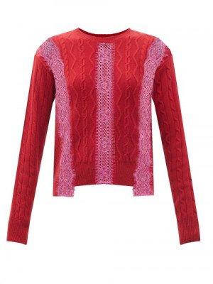 Matchesfashion Stella Mccartney - Lace-insert Cable-knit Wool Sweater - Womens - Red Multi