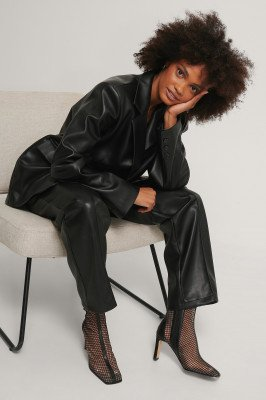 NA-KD Shoes NA-KD Shoes Meshlaarzen Met Vierkante Neus - Black