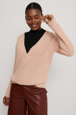 Rut&Circle Knit Met V-Hals - Pink