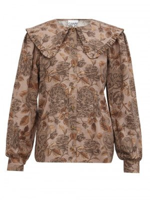 Matchesfashion Ganni - Floral-print Organic-cotton Poplin Blouse - Womens - Brown Print