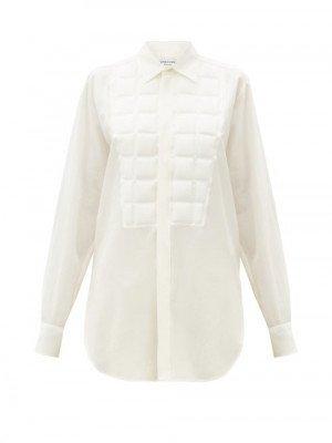 Matchesfashion Bottega Veneta - Quilted Silk Crepe-de-chine Shirt - Womens - White