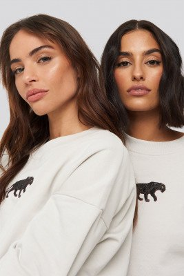 NA-KD NA-KD Panther Sweatshirt - Beige