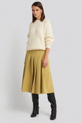 NA-KD Classic NA-KD Classic Tailored Pleated Midi Skirt - Yellow