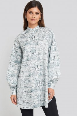 NA-KD Trend NA-KD Trend Oversized Printed Cotton Shirt Dress - Multicolor