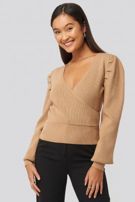 Statement By NA-KD Influencers Joann Van Den Herik Puff Sleeve Overlap Sweater - Beige