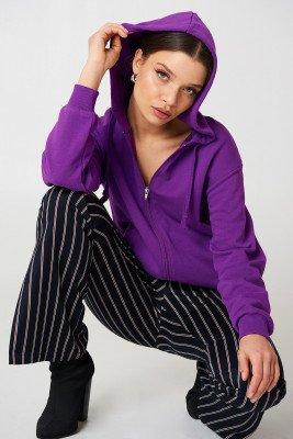 NA-KD Basic NA-KD Basic Basic Zipped Hoodie - Purple