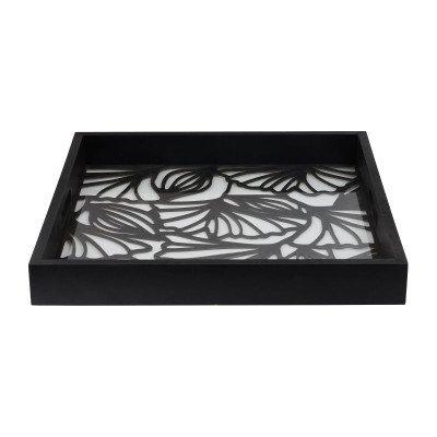 Dienblad leaves - zwart - 40x40x5 cm