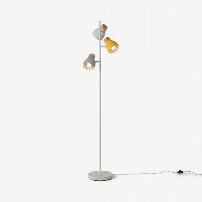 MADE.COM Albert staande lamp, zachtgrijs en mosterdgeel