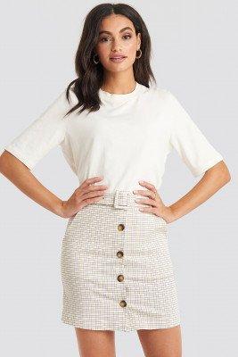 NA-KD Classic Belted Mini Skirt - White