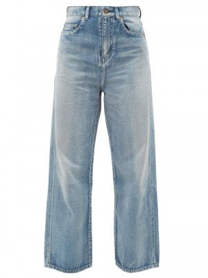 Saint Laurent - High-rise Cropped Wide-leg Jeans - Womens - Denim