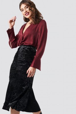 NA-KD Party NA-KD Party Velvet Ruched Skirt - Black
