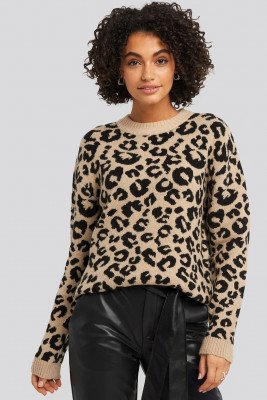 NA-KD Animal Knitted Leo Sweater - Beige,Multicolor