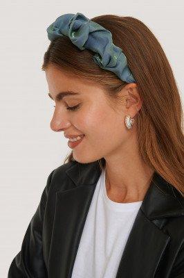 NA-KD Accessories Satijnen Haarband Met Ruches - Blue
