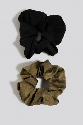 NA-KD Accessories 2-Pack Shiny Scrunchies - Black,Green