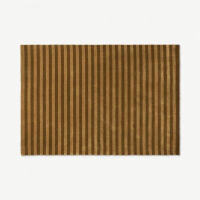 MADE.COM Raidal gestreept viscose vloerkleed, groot 160 x 230 cm, karamel