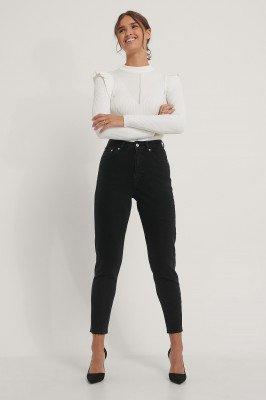 NA-KD Reborn NA-KD Reborn Mom-Jeans Met Gerafelde Zoom - Black