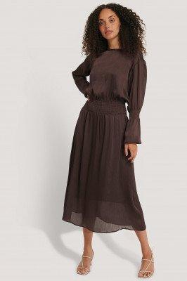 NA-KD NA-KD Smocking Detail Satin Midi Dress - Brown