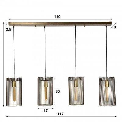 LifestyleFurn Hanglamp 'Sean' Ø17cm, 4-lamps