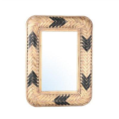 Firawonen.nl PTMD Jera Natural Black rotan spiegel vierkant