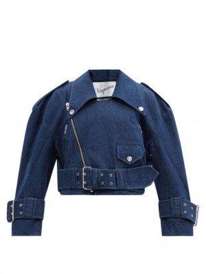 Matchesfashion Vaquera - Cropped Denim Biker Jacket - Womens - Denim