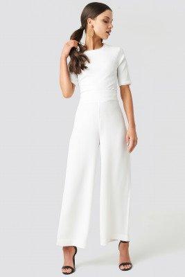 NA-KD Trend NA-KD Trend High Waist Wide Cropped Pants - White