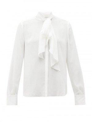 Matchesfashion Another Tomorrow - Tie-neck Crepe Blouse - Womens - White