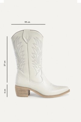 Shoecolate Shoecolate Cowboylaarzen Hak Wit 8.11.08.029