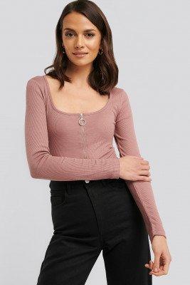 NA-KD NA-KD Long Sleeve Zipped Top - Pink