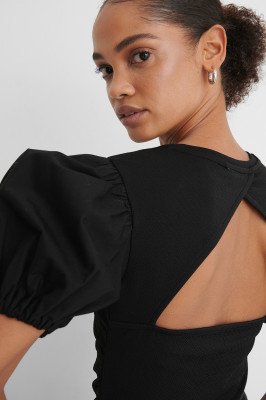 NA-KD Trend NA-KD Trend Rouched Puff Sleeve Top - Black