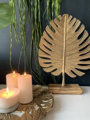 YardLife YardLife Ornament Gouden blad op voet