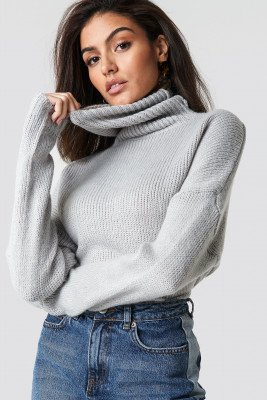 NA-KD NA-KD Folded Oversize Short Knitted Sweater - Grey