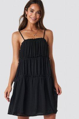 NA-KD Boho NA-KD Boho Thin Strap Tiered Mini Dress - Black