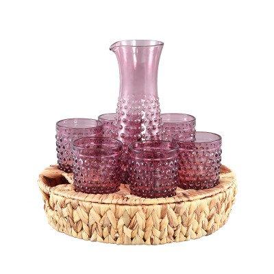 Firawonen.nl Ptmd hadley glas roze pitcher 6 glazen in rieten