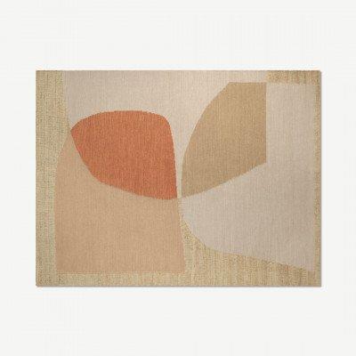 MADE.COM Casaco vloerkleed van jute en wolmix, groot, 160 x 230 cm, gewassen rood