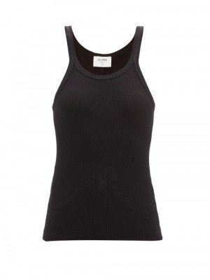 Matchesfashion Re/Done - Ribbed Cotton Cami Top - Womens - Black