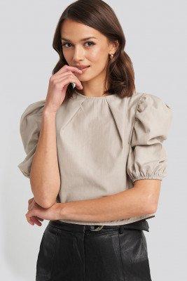 NA-KD Boho Puff Shoulder Short Sleeve Blouse - Beige