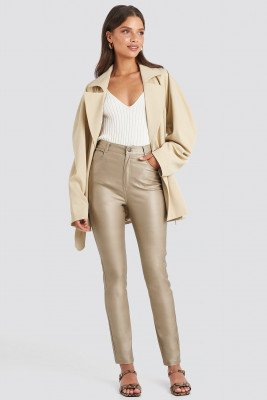 NA-KD Trend Coated Cotton Pants - Beige