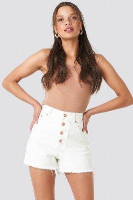 NA-KD NA-KD High Waist Raw Hem Denim Shorts - White