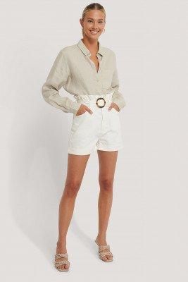 NA-KD Trend Denim Short - White