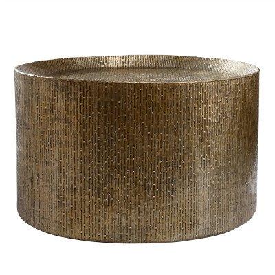 Firawonen.nl PTMD Mave Gold aluminium sheet salontafel rond S