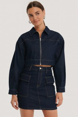 NA-KD Trend NA-KD Trend Cropped Jeansjack Met Rits - Blue