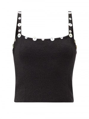 Matchesfashion Staud - Harley Buttoned Rib-knitted Cropped Top - Womens - Black