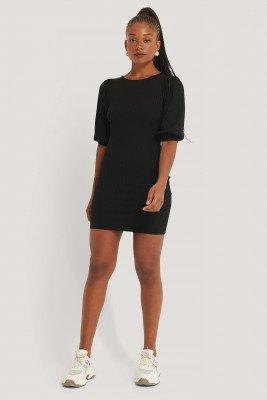 NA-KD Trend NA-KD Trend Puff Half Sleeve Ribbed Mini Dress - Black