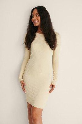 NA-KD Basic NA-KD Basic Gerecycleerd Geribde Mini-jurk - Beige