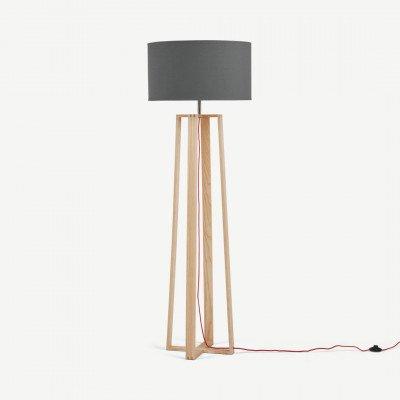 MADE.COM Asher staande lamp, natuurlijk essenhout