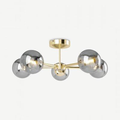 MADE.COM Globe grote plafondlamp, messing en rookglas