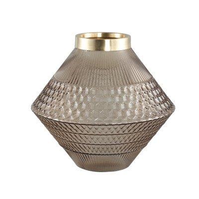 Ptmd siv bruin glazen vaas met patroon rond s