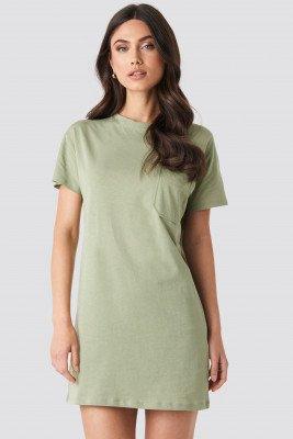 NA-KD NA-KD Chest Pocket T-shirt Dress - Green