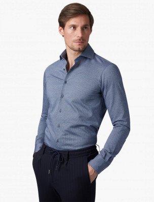 Cavallaro Napoli Cavallaro Napoli Heren Colbert - Marchilli Overhemd - Blauw