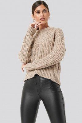 NA-KD Mohair Blend Chunky Ribbed Sweater - Beige